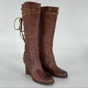 APEPAZZA ARPA TALL BROWN LEATHER WEDGE BOOTS S-8